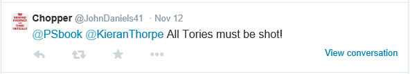 Leftist tweets calling for all Tories to be shot.