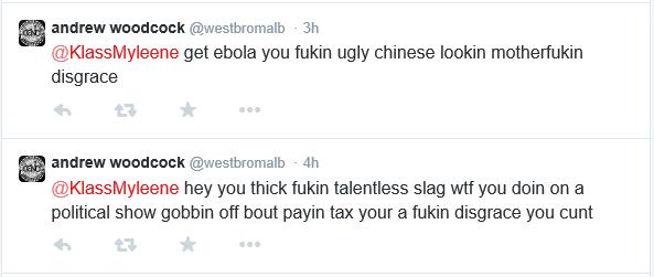 A screenshot of a vile tweet