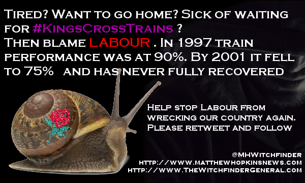 A picture of a dark background with the Witchfinder, a snail with a Labour logo and a caption blaming Labour for train lateness at Kings Cross.
