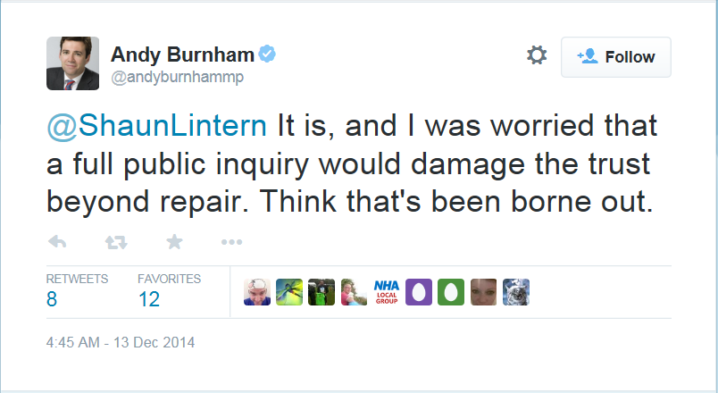 Andrew Burnham's Tweet