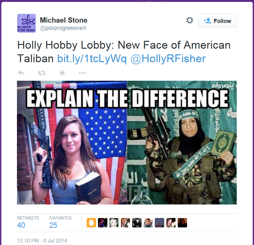 A screenshot of a leftist tweet comparing Holly R Fisher to a Terrorist.