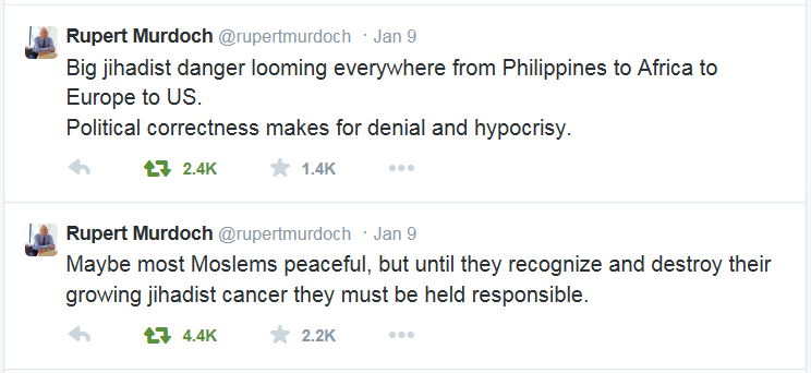 "Screenshot of two tweets by Rupert Murdoch in which he comments on ""jihadist danger""."
