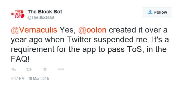 BlockBot Admits Suspended Tweet