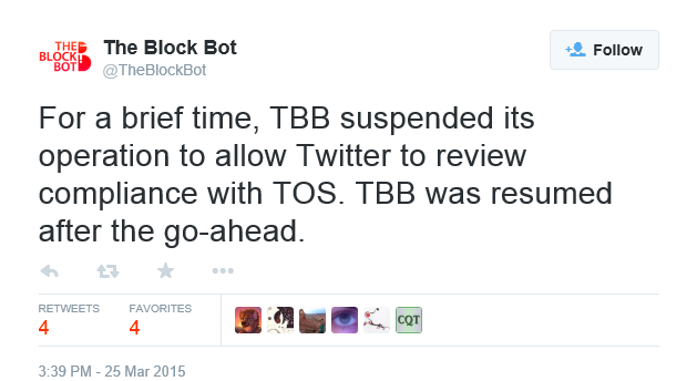 The Block Bot claims that it 'suspended its operations'. Er ... not quite ...
