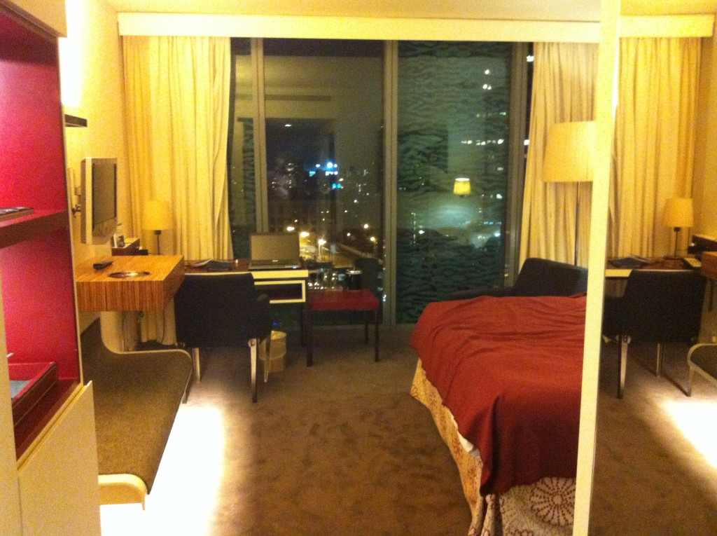 A hotel room shown at night. Click for full size.