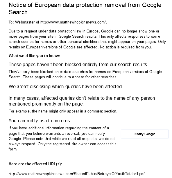 Someone wants the extracts from Betrayal of Youth removed from Google Search. (Click full size).