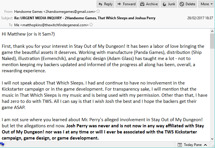 "The first response from ""Paul"" at 2 Handsome Games. No Josh Perry here. No sirree! Click for full size."
